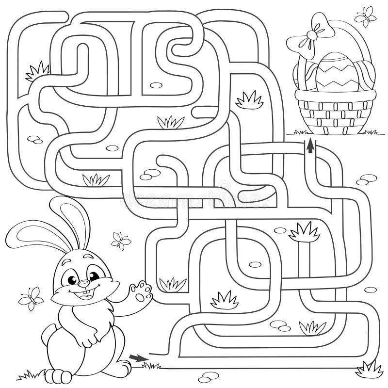 Hjälp den lilla kaninfyndbanan till påskkorgen med ägg labyrint Mazelek för ungar Svartvit vektorillustration för sänka stock illustrationer
