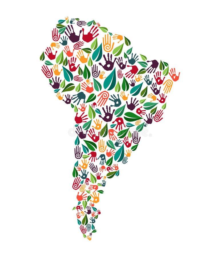 Hjälp för miljö för Sydamerika handtryck social royaltyfri illustrationer