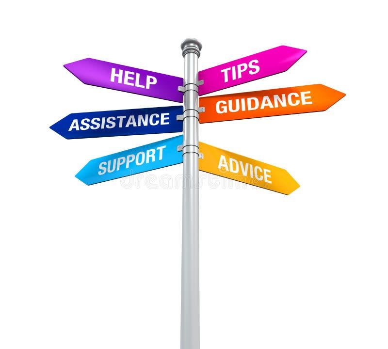 Hjälp för vägledning för rådgivning för spetsar för hjälp för teckenriktningsservice stock illustrationer
