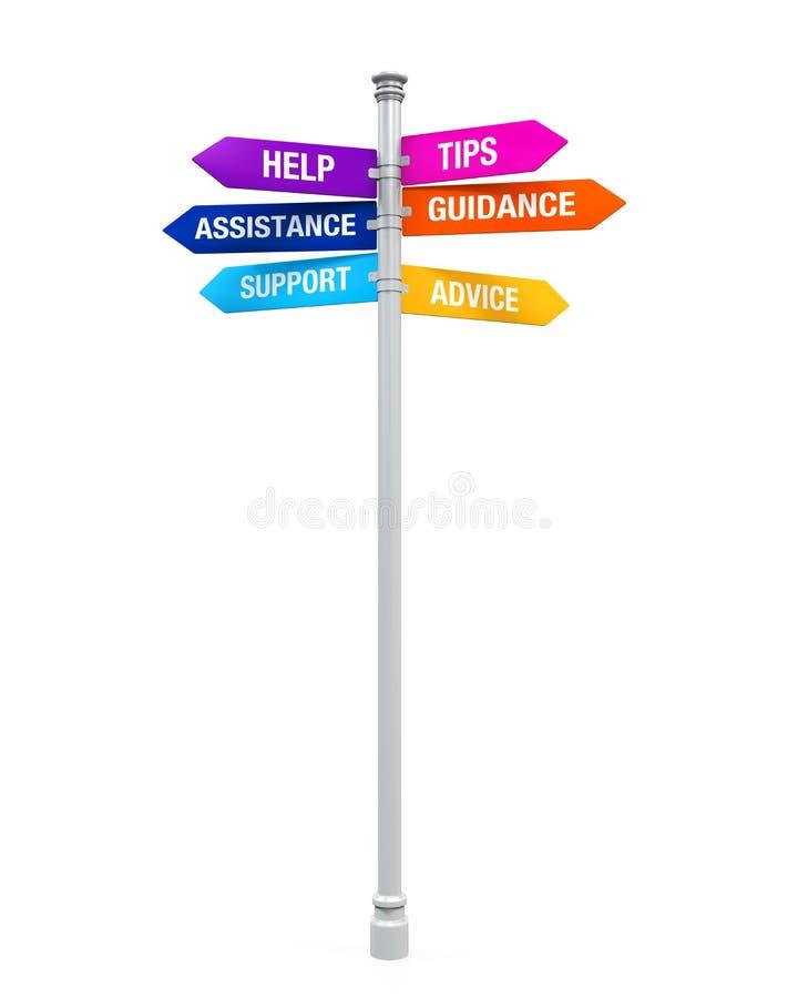 Hjälp för vägledning för rådgivning för spetsar för hjälp för teckenriktningsservice vektor illustrationer