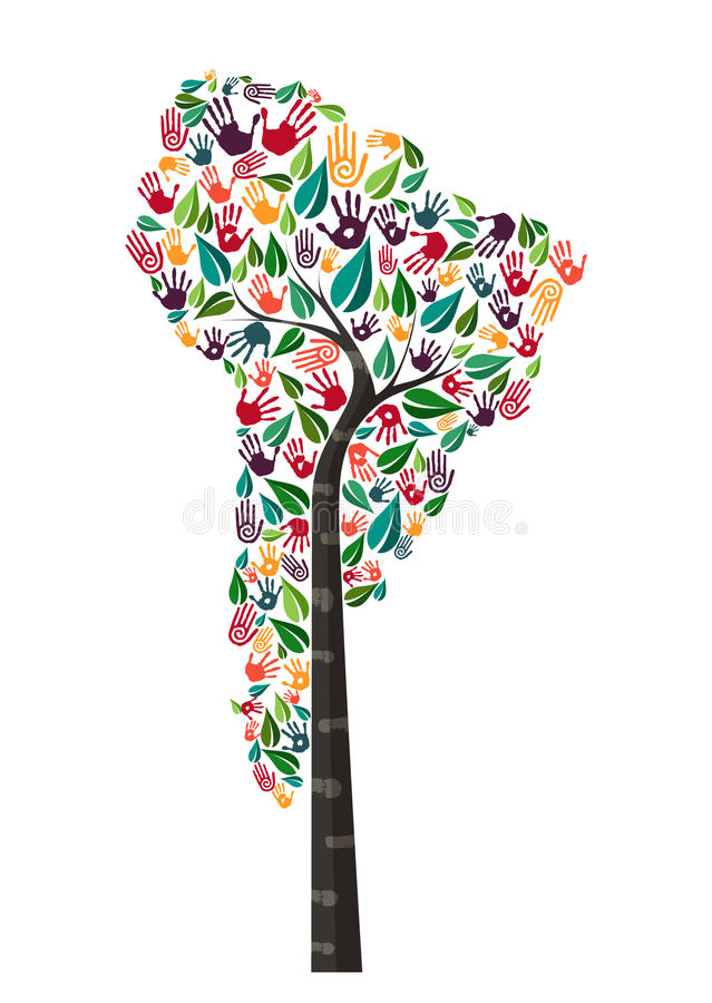Hjälp för värld för symbol för träd för Sydamerika handtryck royaltyfri illustrationer