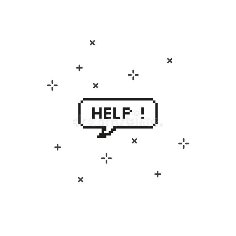 Hjälp i konst för PIXEL för bit för anförandebubbla 8 stock illustrationer