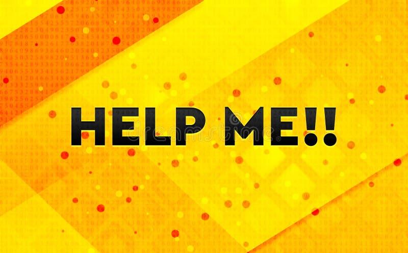 Hjälp mig!! gul bakgrund för abstrakt digitalt baner stock illustrationer