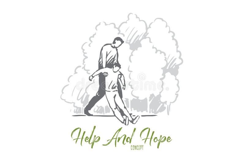Hjälp nedgången, medvetenhet, förlorar, fångar begrepp Hand dragen isolerad vektor royaltyfri illustrationer