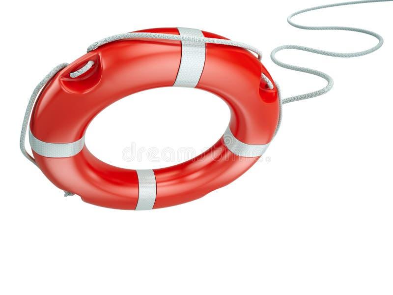 Hjälp säkerhet, säkerhetsbegrepp Lifebelt livboj som isoleras på vit bakgrund stock illustrationer