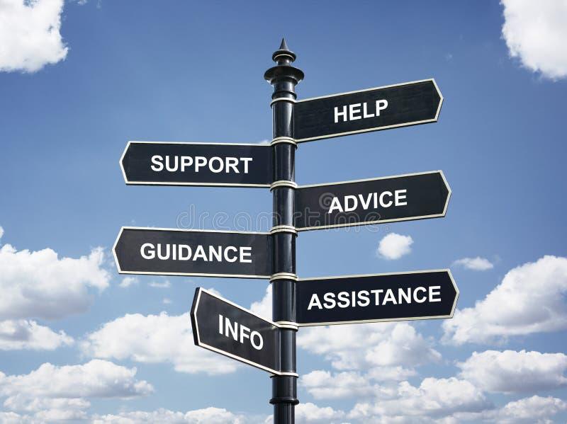 Hjälp, stötta, råda, väglednings-, hjälp- och informationstvärgata s arkivfoto