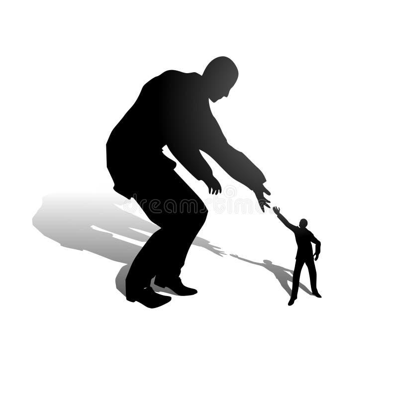 hjälpa för affärshand som är litet stock illustrationer