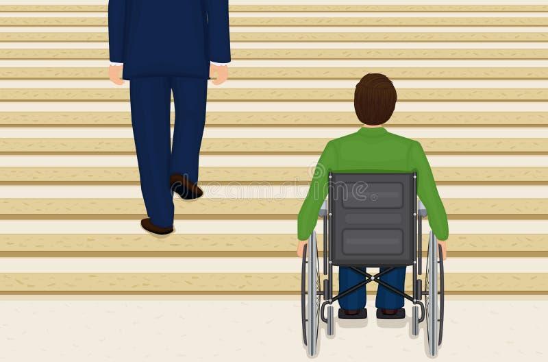 hjälplös rullstol royaltyfri illustrationer