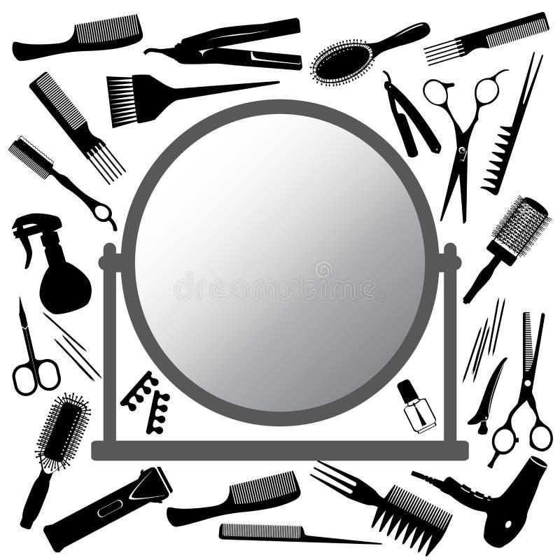 Hjälpmedel av frisören och spegeln stock illustrationer