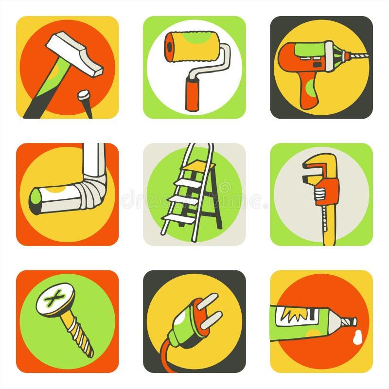 hjälpmedel för 1 symboler stock illustrationer