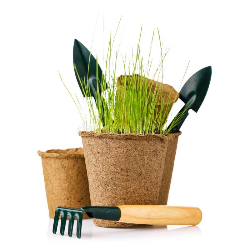 Hjälpmedel för att arbeta i trädgården: torvkrukan med plantor, skyfflar och krattar, isolerat fotografering för bildbyråer