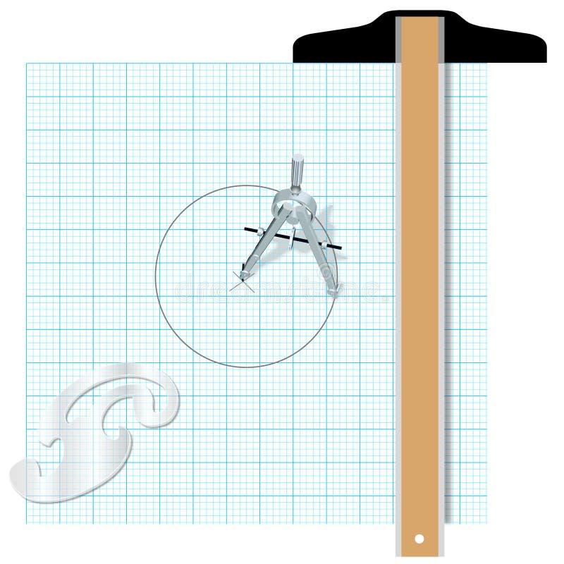 hjälpmedel för fyrkant för kompassskissningteknik stock illustrationer