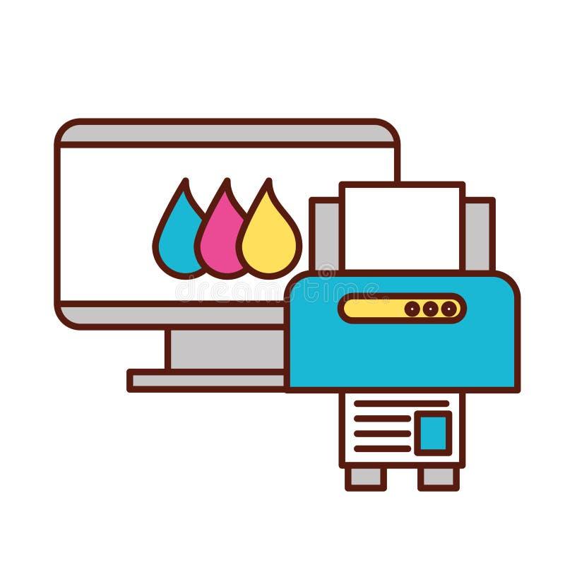 Hjälpmedel för grafisk design för dator- och skrivarapparater vektor illustrationer