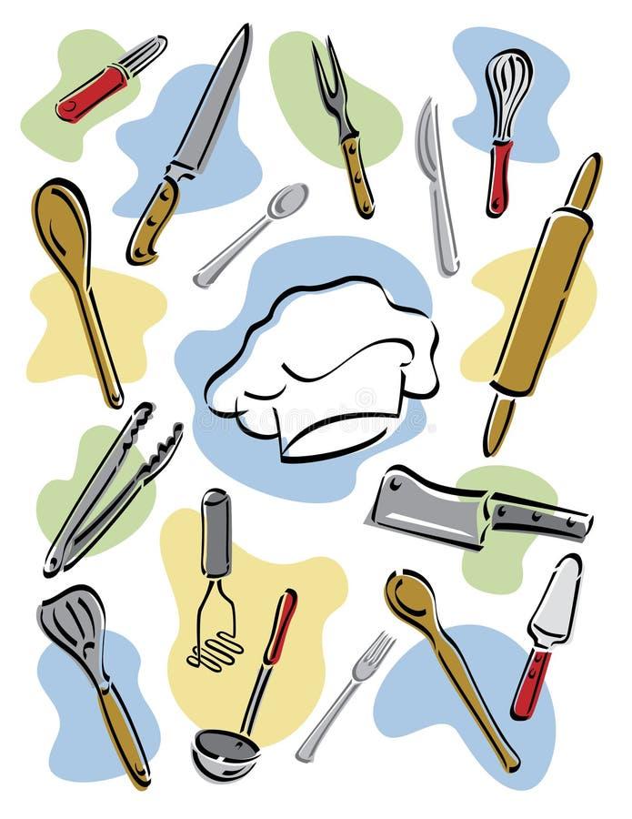 hjälpmedel för kock s stock illustrationer