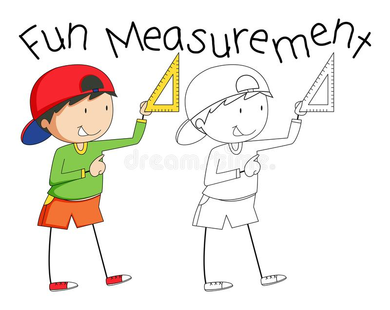 Hjälpmedel för mätning för klotterpojkeinnehav royaltyfri illustrationer