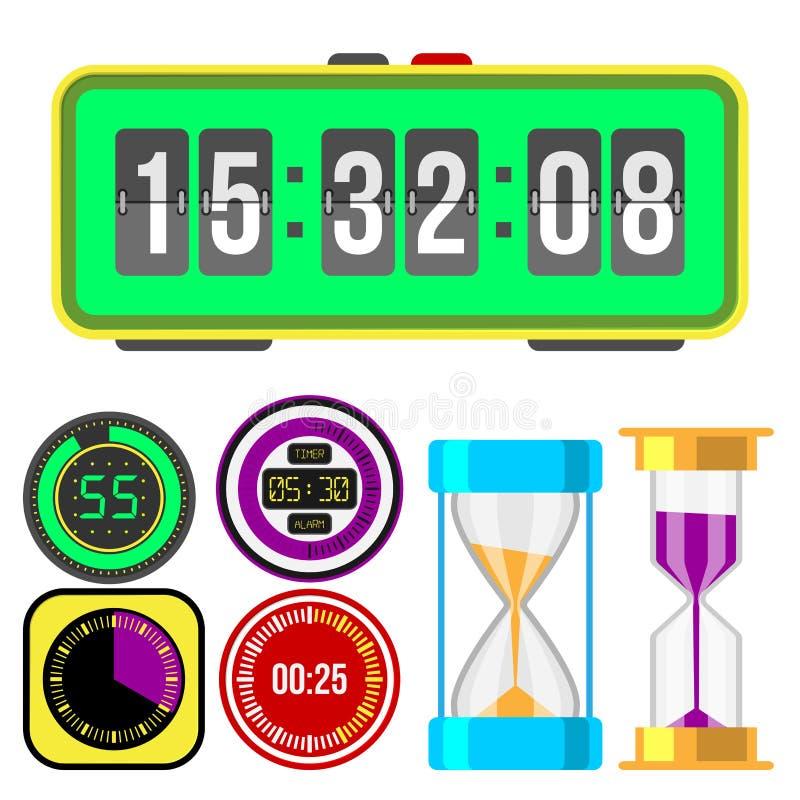 Hjälpmedel för mätning för tidmätare för klockaklockor numrerar färgrika stoppurillustrationen för digital information stock illustrationer