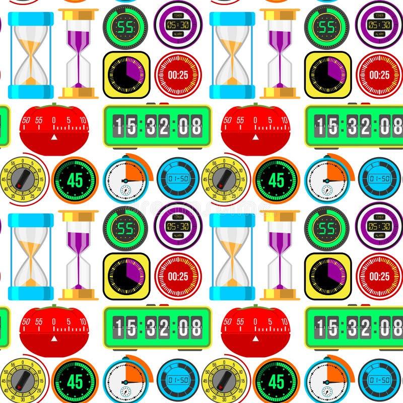 Hjälpmedel för mätning för tidmätare för vektor för klockaklockor numrerar färgrika stoppuren för digital information sömlös mode vektor illustrationer