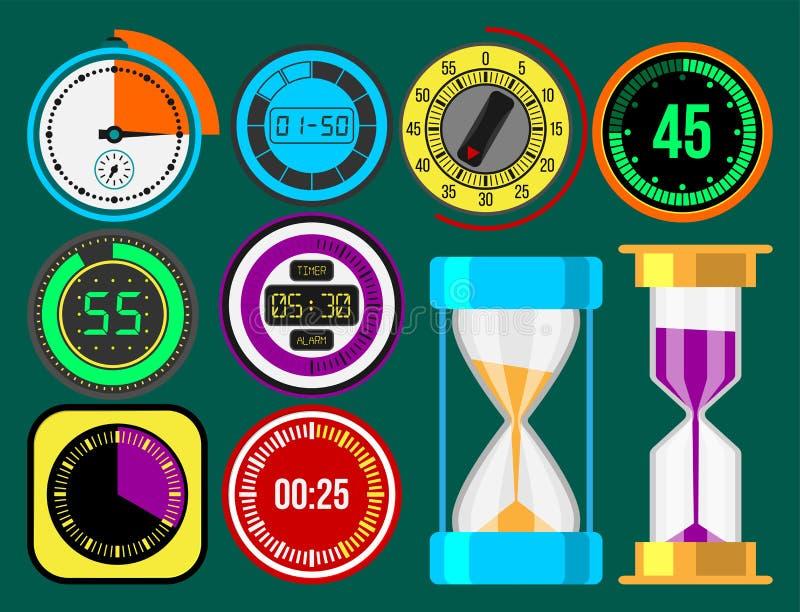 Hjälpmedel för mätning för tidmätare för vektor för klockaklockor numrerar färgrika stoppurillustrationen för digital information stock illustrationer
