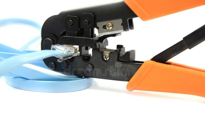hjälpmedel för plattång rj11 rj45 för kabelcrimpernätverk arkivbilder