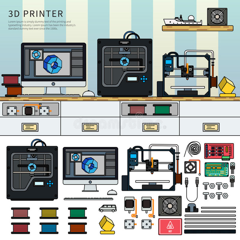Hjälpmedel för printing 3D stock illustrationer