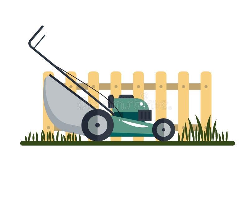 Hjälpmedel för utrustning för teknologi för gräsklipparemaskinsymbol och att arbeta i trädgården gräs-skäraren med gräs och stake royaltyfri illustrationer