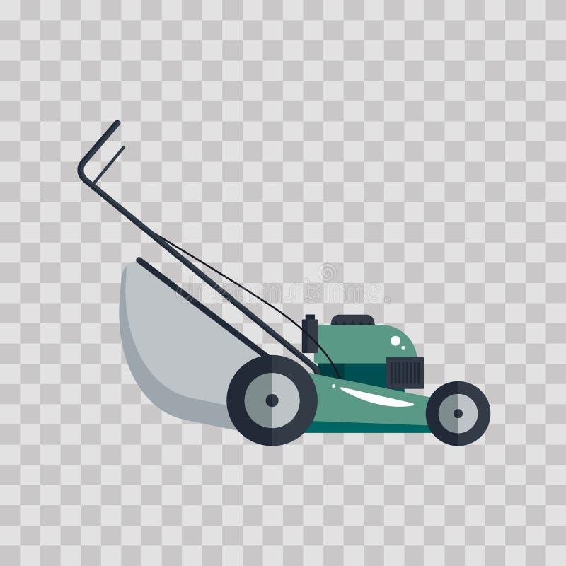 Hjälpmedel för utrustning för teknologi för gräsklipparemaskinsymbol som arbeta i trädgården gräs-skäraren på genomskinlig bakgru stock illustrationer
