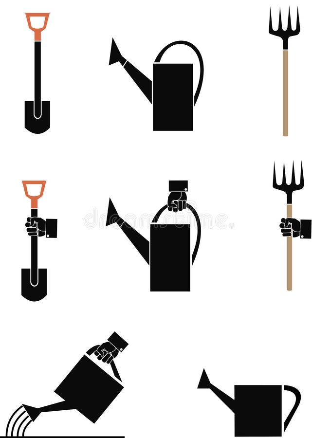 Hjälpmedel för vektorbildträdgård: showel som bevattnar kan gaffel vektor illustrationer