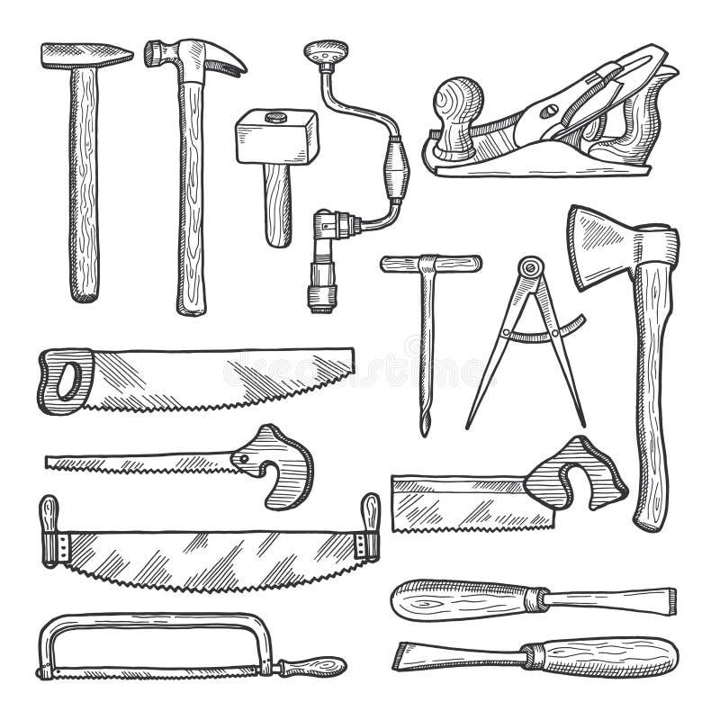 Hjälpmedel i snickeriseminarium Tecknad illustration för vektor hand vektor illustrationer