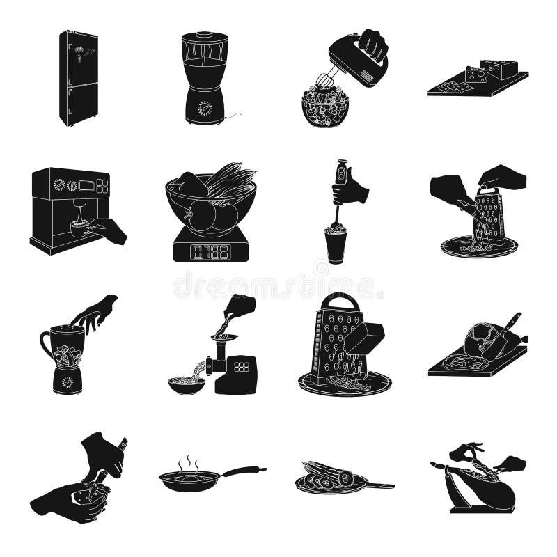 Hjälpmedel, kök, utrustning och annan rengöringsduksymbol i svart stil gurka tomat, pepparsymboler i uppsättningsamling stock illustrationer