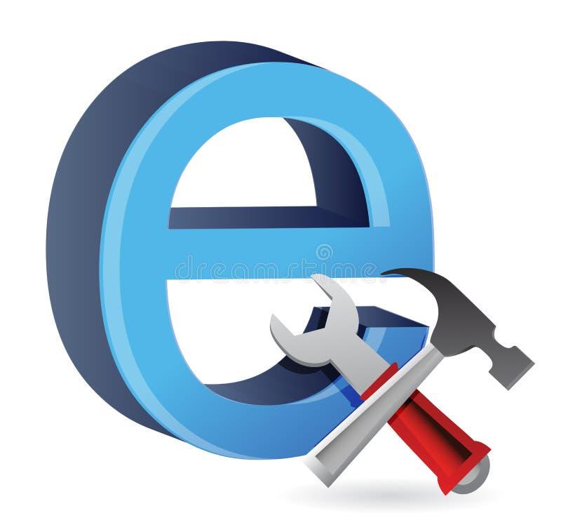 Hjälpmedel med symbolet för internet. royaltyfri illustrationer