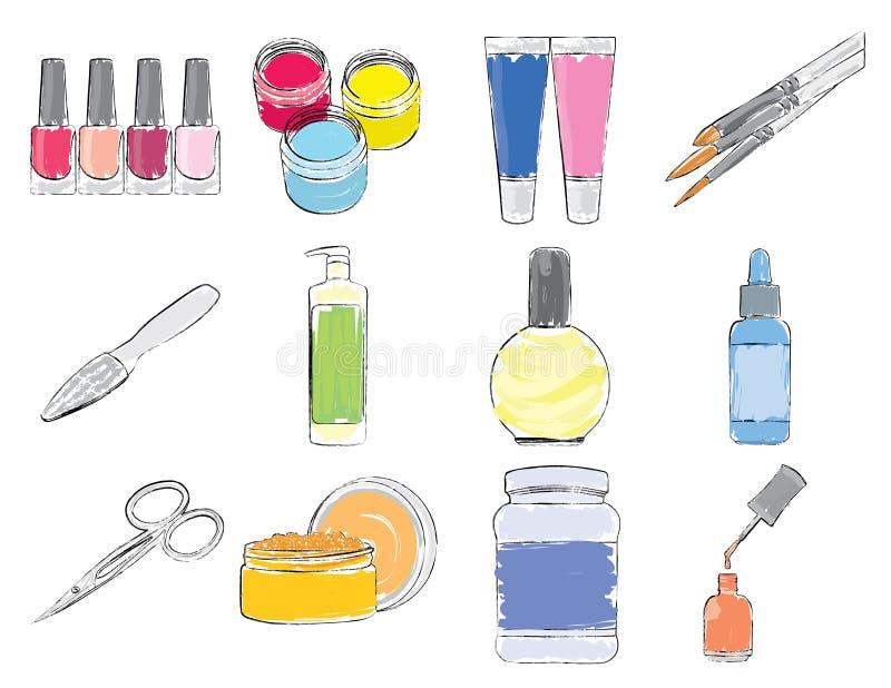 Hjälpmedel och expendables för manicure. royaltyfri illustrationer