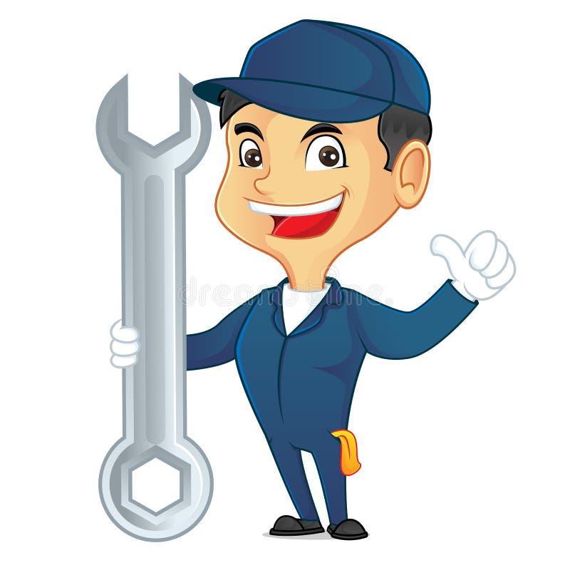 Hjälpmedel och le för mekaniker hållande vektor illustrationer