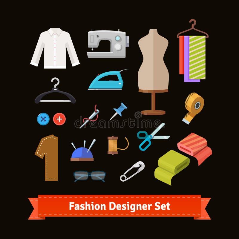 Hjälpmedel och material för modeformgivare royaltyfri illustrationer