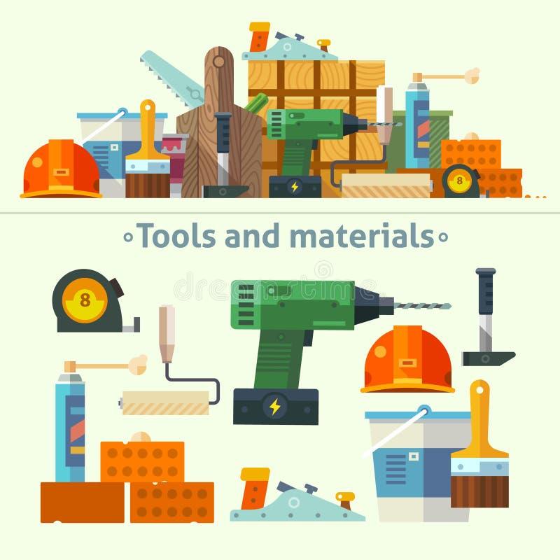 Hjälpmedel och material för reparationen stock illustrationer