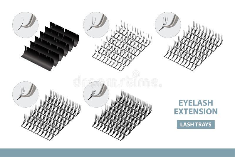 Hjälpmedel och tillförsel för ögonfransförlängningsapplikation Konstgjord snärtuppsättning för volym också vektor för coreldrawil stock illustrationer