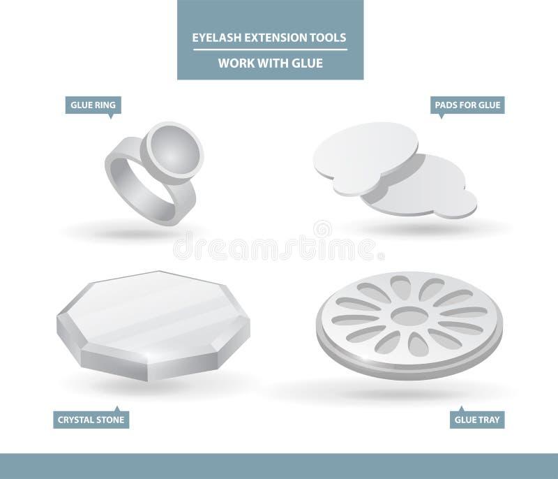Hjälpmedel och tillförsel för ögonfransförlängningsapplikation Limcirkel, block, magasin och Cristal sten Arbete med lim Hjälpmed stock illustrationer