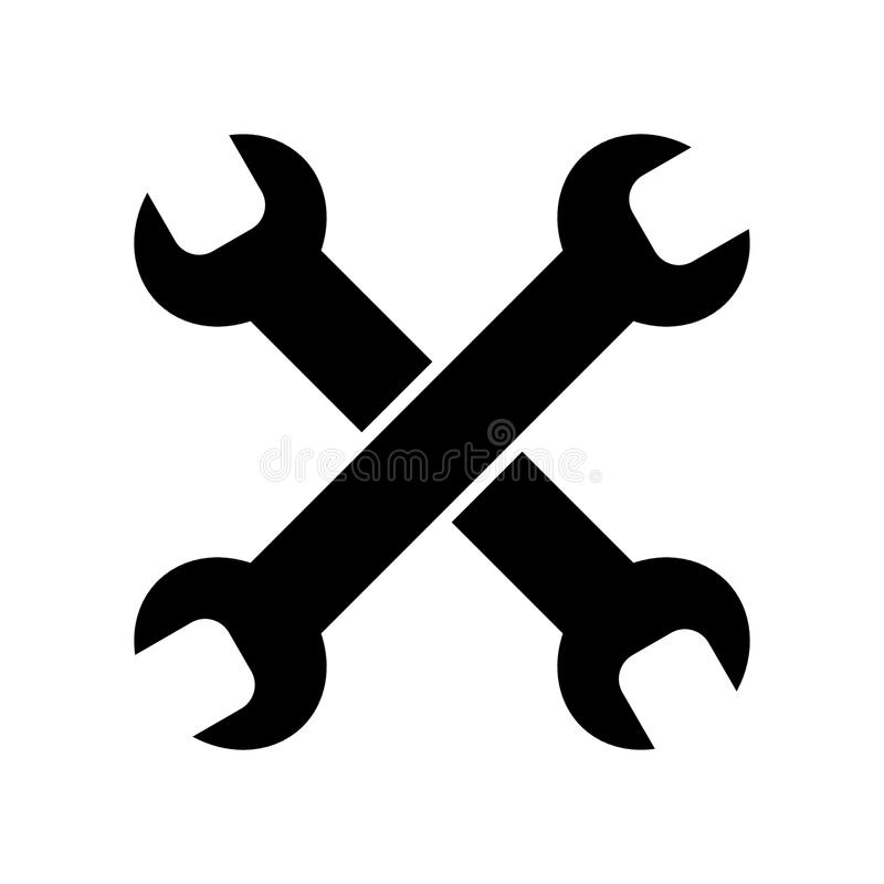 Hjälpmedel som isoleras på den vita bakgrundsvektorsymbolen Skruvnycklar som ska repareras Linjär heltäckandelägenhetsymbol prov  royaltyfri illustrationer