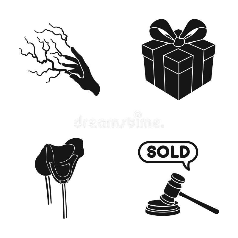 Hjälpmedel, yrke, hobbyer och annan rengöringsduksymbol i svart stil appellera, bedöma, trädsymboler i uppsättningsamling stock illustrationer