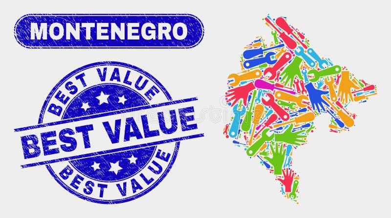 HjälpmedelMontenegro översikt och skrapade bästa värdevattenstämplar royaltyfri illustrationer