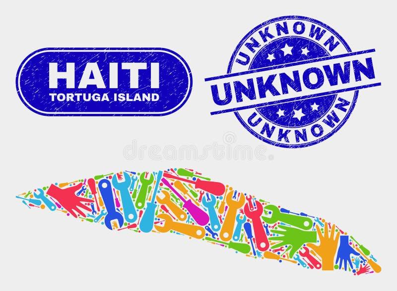 HjälpmedelTortuga ö av den Haiti översikten och skrapade okändavattenstämplar vektor illustrationer