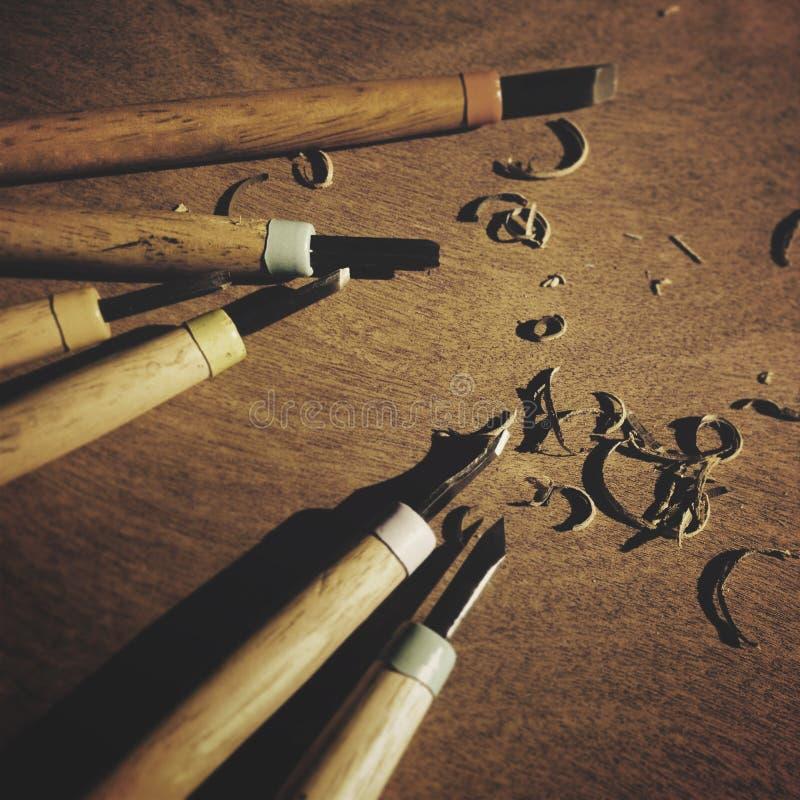 Hjälpmedlet snider det Wood träbegreppet för timmersnickeristämjärnet arkivbilder