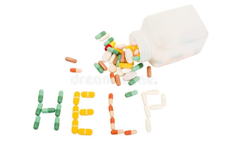 Hjälpord som göras från olika preventivpillerar arkivfoton
