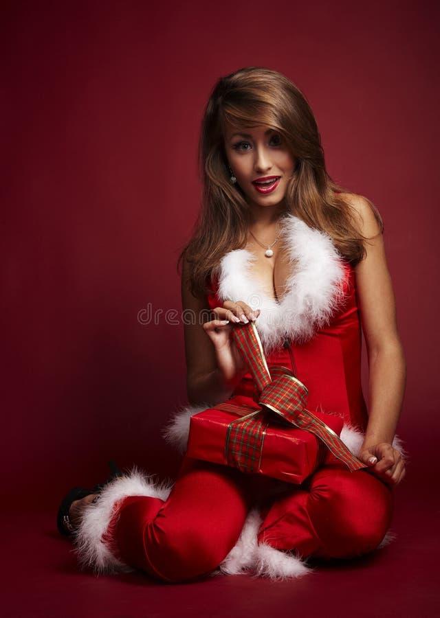 hjälpreda sexiga santa arkivfoton