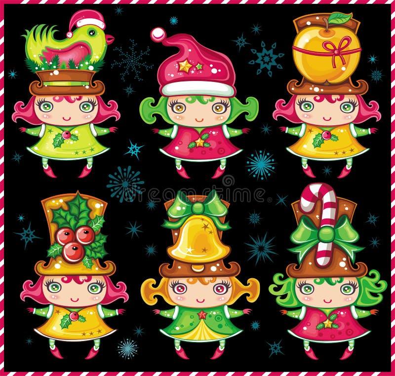 hjälpredor santa för 1 jul royaltyfri illustrationer