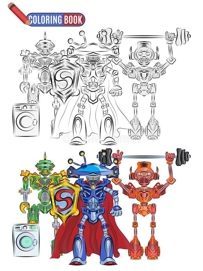 Hjältar för idrottsmän för främlingar för bokfärgläggningrobotar toppna royaltyfri illustrationer