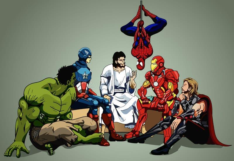 Hjälte och Jesus stock illustrationer
