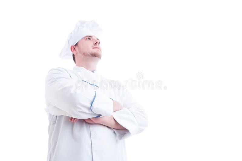Hjälteskott av en stolt och säker kock eller kock arkivbilder