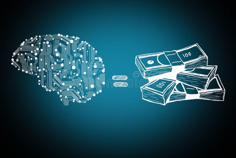 Hjärn- och pengarräkningar stock illustrationer