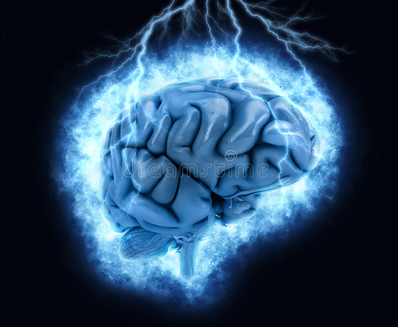hjärna 3D med exploderande lighteningeffekt royaltyfri illustrationer