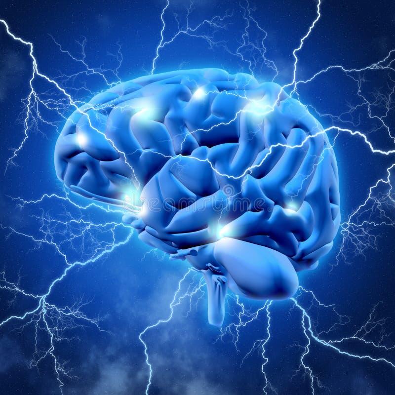 hjärna 3D med lightening stock illustrationer